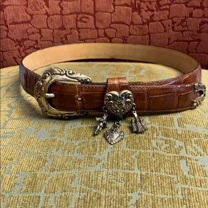 Brighton brown leather charm belt Medium